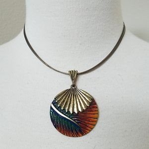 Chico's Rainbow Abstract Leaf Necklace